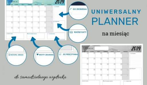 Uniwersalny planner miesięczny – luty 2019