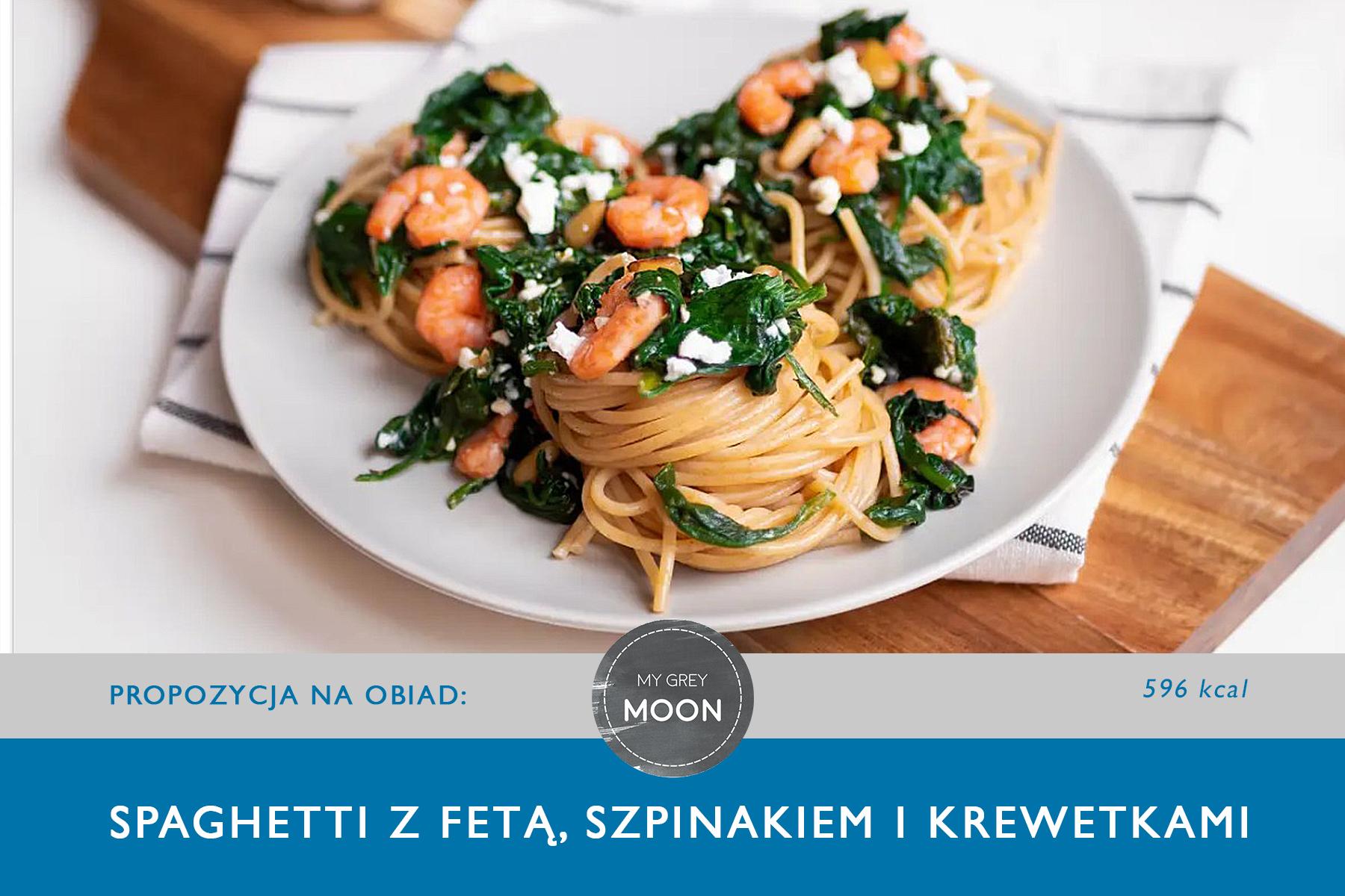 Spaghetti  zfetą, szpinakiem ikrewetkami